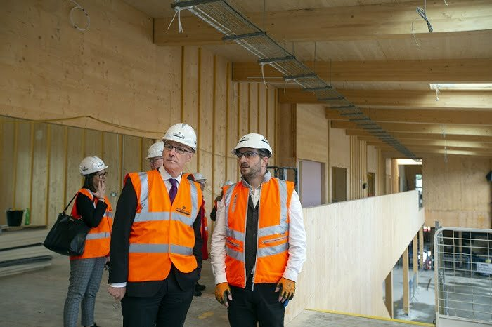 Deputy First Minister, John Swinney, visits Merkinch Primary School as construction reaches significant milestone