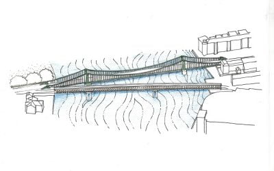 Temporary walking and cycling crossing proposed as part of the restoration of Hammersmith Bridge