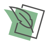 green quill on paper icon