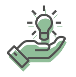 light bulb in hand icon in green