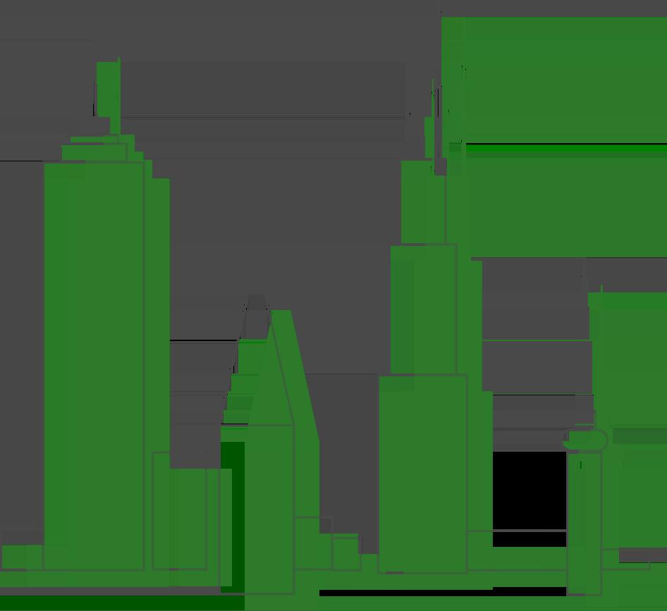 transparent background skyline in green